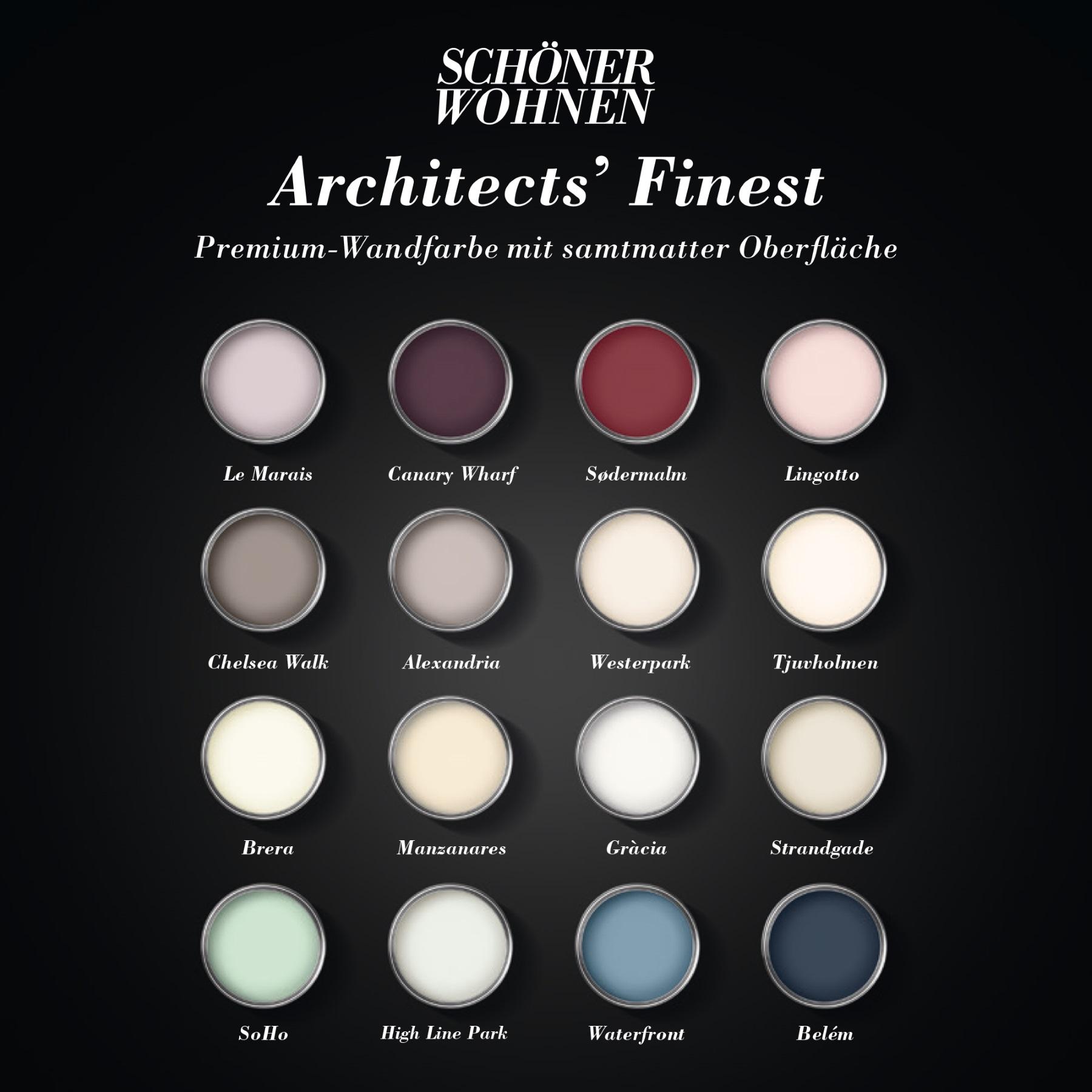 Schoner Wohnen Architects Finest Wandfarbe Deckenfarbe Soho Farbtontester 100 Ml