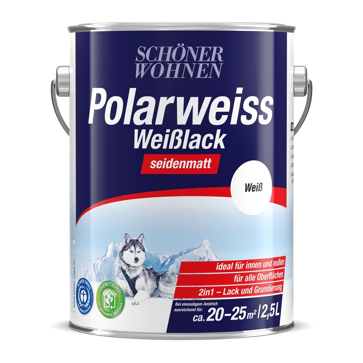 Schoner Wohnen Polarweiss Weisslack Seidenmatt 2 5 L
