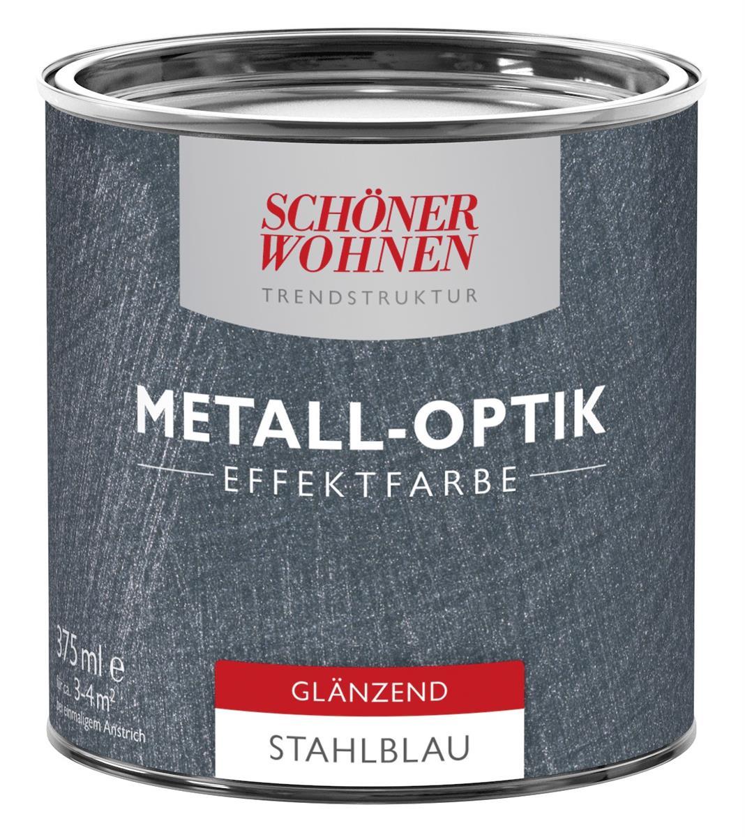 Schoner Wohnen Trendstruktur Effektfarbe Metall Optik Wunschfarbton Silber Glanzend 1 L