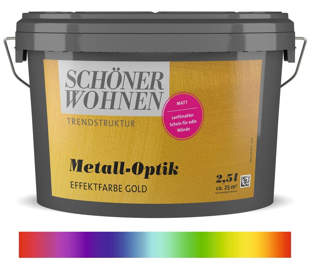 Schoner Wohnen Trendstruktur Effektfarbe Metall Optik Wunschfarbton Gold Glanzend 2 5 L