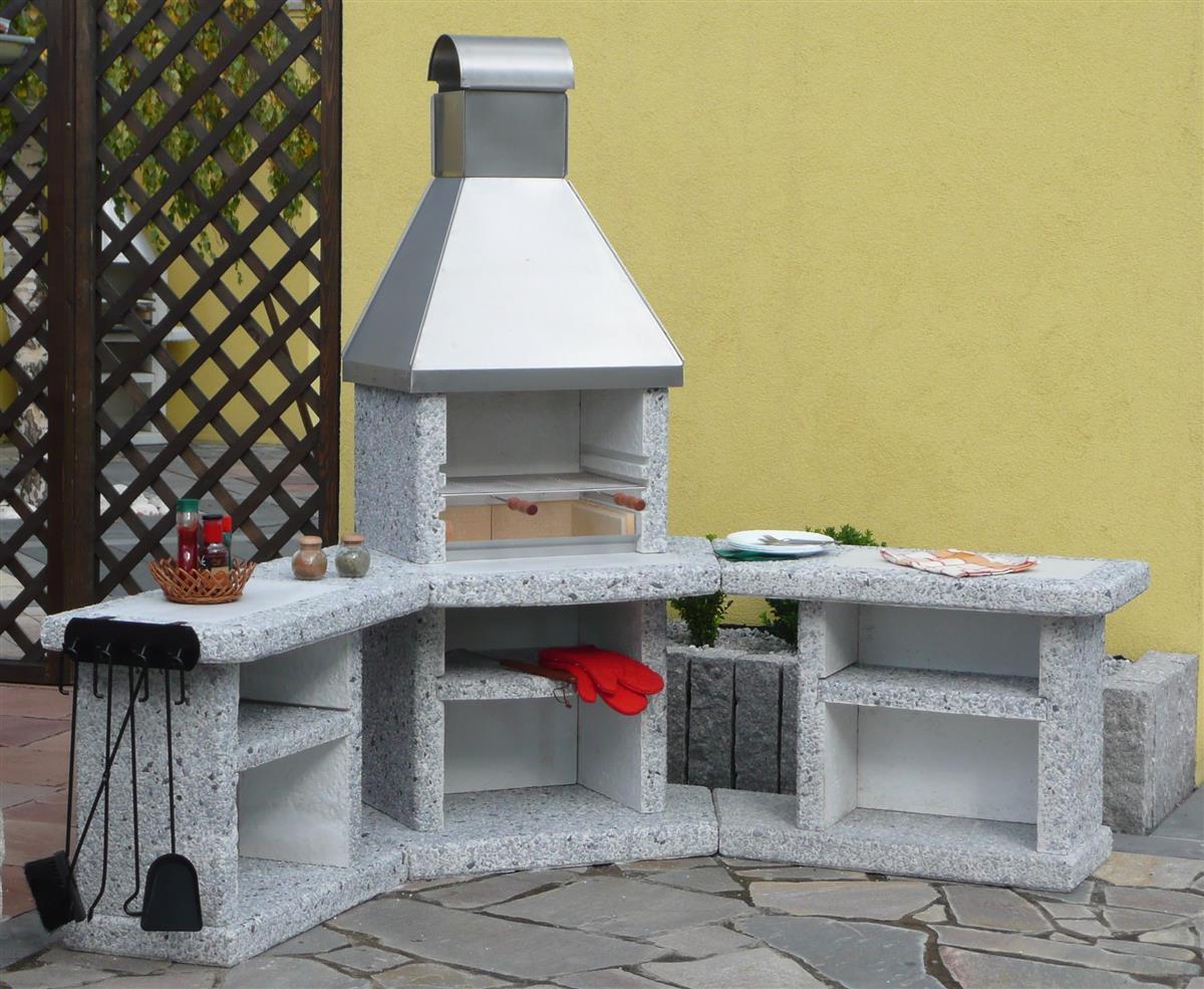 Außenküche Mit Grill : Wellfire grill außenküche toskana grau weiß edelstahltahlhaube 192 x