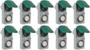 10er Set Zeitschaltuhr, mechanisch IP44, 16 A für Außen grün-grau