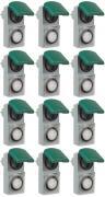 12er Set Zeitschaltuhr, mechanisch IP44, 16 A für Außen grün-grau