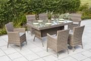Merxx 13-teilig Set Teneriffa 6x Sessel inkl. Sitzkissen 1 Tisch 160 x 90 cm aufliegende Glasplatte grau-beige