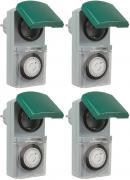 4er Set Zeitschaltuhr, mechanisch IP44, 16 A für Außen grün-grau