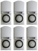 6er Set Zeitschaltuhr, mechanisch IP44, 16 A für Außen weiß