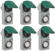 6er Set Zeitschaltuhr, mechanisch IP44, 16 A für Außen grün-grau