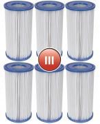 6x Bestway Filterkartusche Gr.III Ø 10,6cm H 20,3cm für FlowClear Pumpe