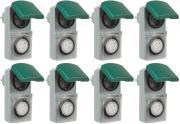 8er Set Zeitschaltuhr, mechanisch IP44, 16 A für Außen grün-grau