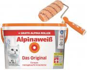 Alpina Innenfarbe Wandfarbe Alpinaweiß matt 10 L+ Alpina Farbroller 18 cm