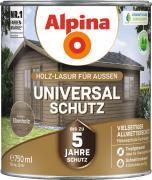Alpina Universal-Schutz Vielseitige Holz-Lasur mit bis zu 5 Jahren Wetterschutz Ebenholz 750ml