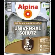 Alpina Universal-Schutz Vielseitige Holz-Lasur mit bis zu 5 Jahren Wetterschutz Grau 2,5L