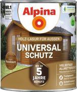 Alpina Universal-Schutz Vielseitige Holz-Lasur mit bis zu 5 Jahren Wetterschutz Nussbaum 2,5L