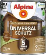 Alpina Universal-Schutz Vielseitige Holz-Lasur mit bis zu 5 Jahren Wetterschutz Nussbaum 750ml