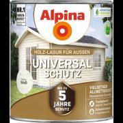 Alpina Universal-Schutz Vielseitige Holz-Lasur mit bis zu 5 Jahren Wetterschutz Weiß 2,5L