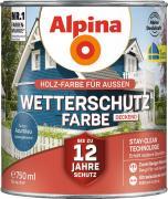 Alpina Wetterschutzfarbe Holzfarbe deckend Azurblau 750ml