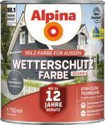 Alpina Wetterschutzfarbe Holzfarbe deckend Basaltgrau 750ml