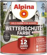 Alpina Wetterschutzfarbe Holzfarbe deckend Graubraun 2,5L
