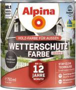 Alpina Wetterschutzfarbe Holzfarbe deckend Graubraun 750ml