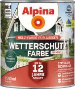 Alpina Wetterschutzfarbe Holzfarbe deckend Moosgrün 750ml