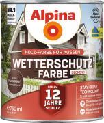 Alpina Wetterschutzfarbe Holzfarbe deckend Nussbaum 750ml