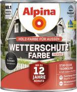Alpina Wetterschutzfarbe Holzfarbe deckend Schwarz 2,5L
