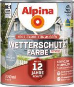Alpina Wetterschutzfarbe Holzfarbe deckend Silbergrau 750ml