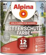 Alpina Wetterschutzfarbe Holzfarbe deckend Steingrau 750ml