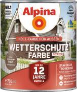 Alpina Wetterschutzfarbe Holzfarbe deckend Toskanabraun 750ml