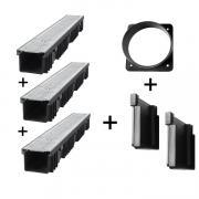 Bielbet Entwässerungsrinne Kunststoff Stahl verzinkt Klasse 1,5t 3x1m 10,5cm 3er Set + Zubehör