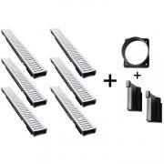 Bielbet Entwässerungsrinne Kunststoff Stahl verzinkt Klasse 1,5t 6x1m 5,5cm 6er Set + Zubehör