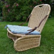bienenzaun Gartenstuhl Klappstuhl Robert inkl. gestepptes blaukariertes Sitzkissen, Korb Naturprodukt