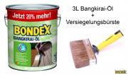 BONDEX Bangkirai-Öl 1 x 3L 20% mehr + Versiegelungsbürste 140mm