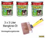 BONDEX Bangkirai-Öl 3 x 3L 20% mehr + Versiegelungsbürste 140mm