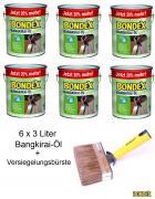 BONDEX Bangkirai-Öl 6 x 3L 20% mehr + Versiegelungsbürste 140mm