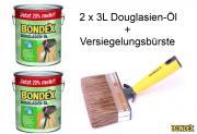 BONDEX Douglasien-Öl 2 x 3 L 20% mehr mit Versiegelungsbürste