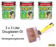 BONDEX Douglasien-Öl 3 x 3 L 20% mehr mit Versiegelungsbürste