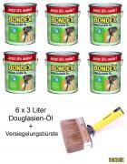 BONDEX Douglasien-Öl 6 x 3 L 20% mehr mit Versiegelungsbürste