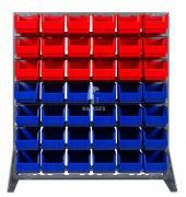 Boxenregal rot / blau 18 rote und 24 blaue Lagerboxen 230 X 140 X 130 mm Höhe: 115 cm Breite: 102,5 cm