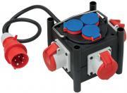 Brennenstuhl Kompakter Gummi-Stromverteiler Gummiverteiler 3x CEE 400V/16A 3x 230V/16A Baustelleneinsatz 1m schwarz