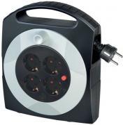 Brennenstuhl Primera-Line Mini-Kabeltrommel Kabelbox 4-fach schwarz/grau H05VV-F 3G1,5 10 m