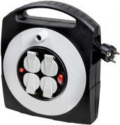 Brennenstuhl Primera-Line Mini-Kabeltrommel Kabelbox 4-fach mit selbstschließenden Deckeln schwarz/grau H05VV-F 3G1,5 10 m