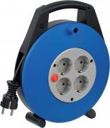 Brennenstuhl Vario Line Kabelbox 4-fach Mini-Kabeltrommel Indoor-Kabeltrommel für Haushalt 10 m schwarz/grau/blau