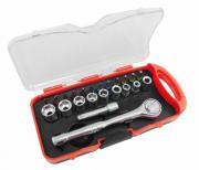CONIP Schraubenschlüssel Bit- und Steckschlüsselsatz mit Umschaltknarre Verlängerung und Adapter in Kasette 23-teilig