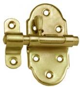 Connex Automatischer Grendelriegel mit Knopf und befestigter Schlaufe Bolzenriegel Türriegel 70 x 35 mm gelb-verzinkt