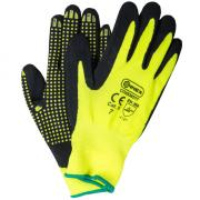 Connex Handschuhe Feinstrickgewebe mit Nitrilnoppen Größe 7 rutschsicher optimaler Grip gelb schwarz