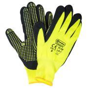 Connex Handschuhe Feinstrickgewebe mit Nitrilnoppen Größe 9 rutschsicher optimaler Grip gelb schwarz