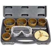 Connex Lochsägensatz 9-teilig Ø 35, 60, 67, 73, 83, 92 mm Größe, 25 mm Höhe, mit Schutzbrille im Koffer