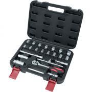 CONNEX Steckschlüsselsatz 3/8 22-teilig Kunststoff-Koffer, Chrom-Vanadium-Stahl