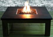 Elementi Gas Feuerstelle Colima mit Schiefer Tischplatte & Weidenholz-Gestell